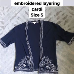 Charming Charlie Embroidered Layering Cardigan